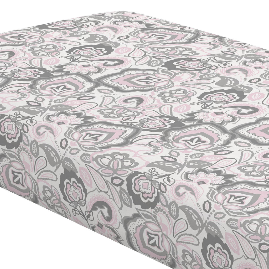 Product image for Pink and Gray Jacobean Crib Sheet