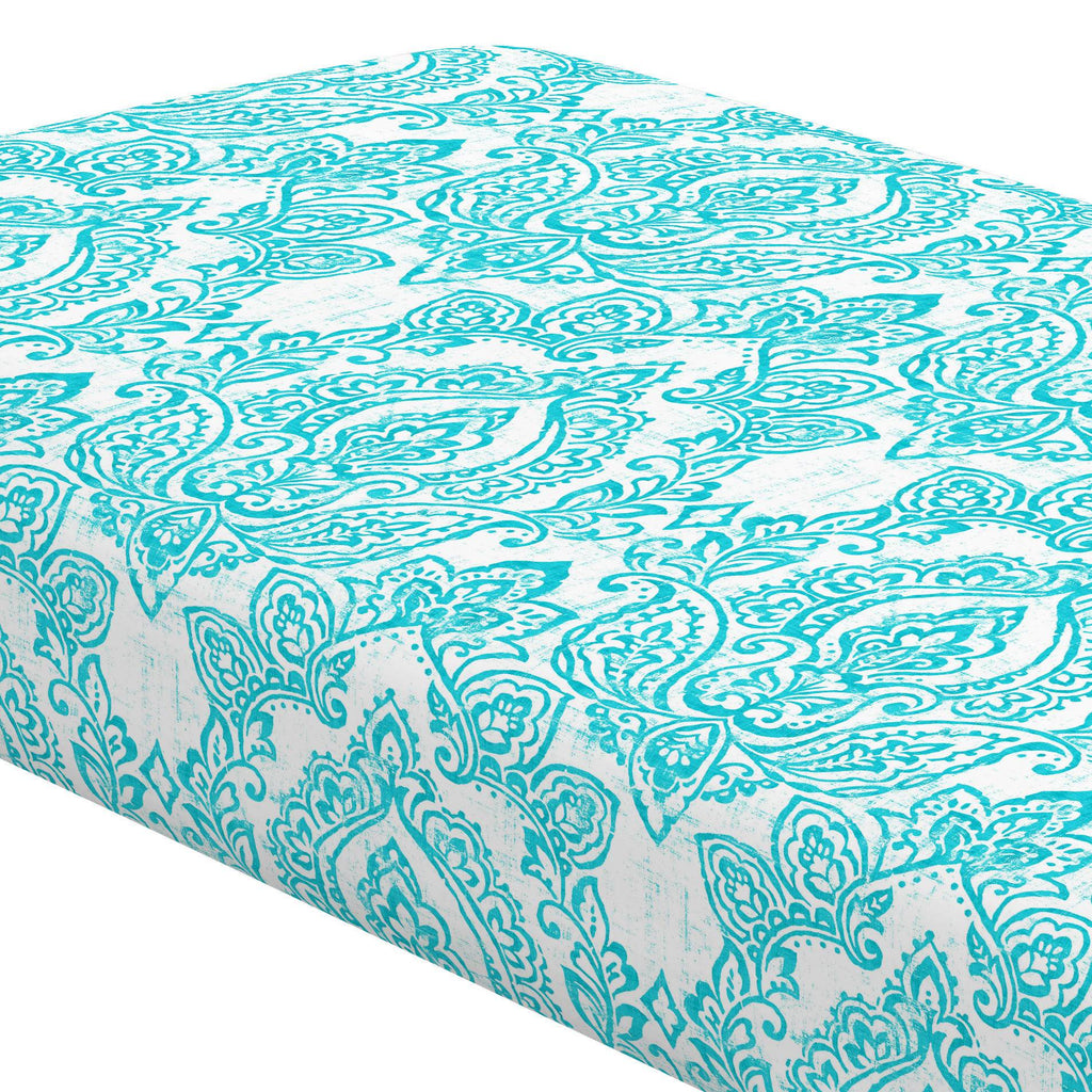 Product image for White and Teal Vintage Damask Crib Sheet
