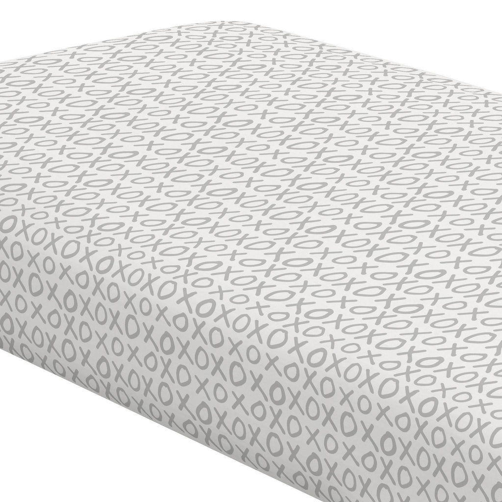 Product image for Silver Gray XO Crib Sheet