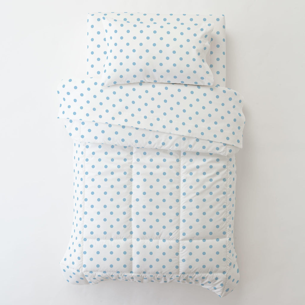Product image for White and Lake Blue Dot Toddler Pillow Case