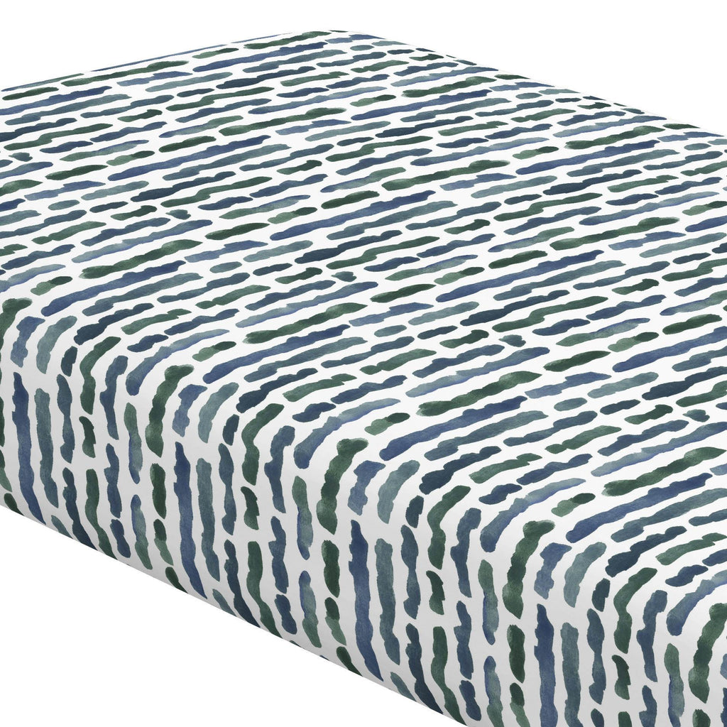 Product image for Sea Green Stripe Crib Sheet