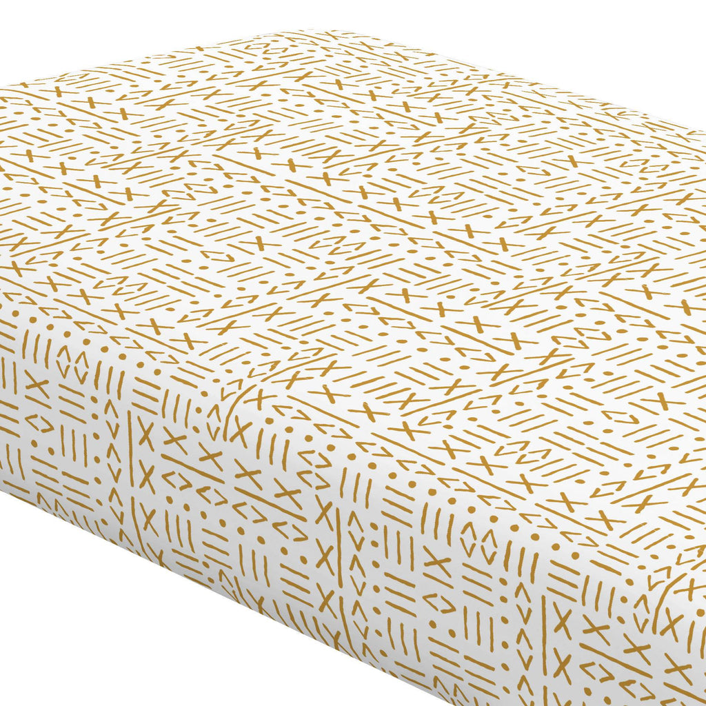 Product image for Mustard Mudcloth Crib Sheet