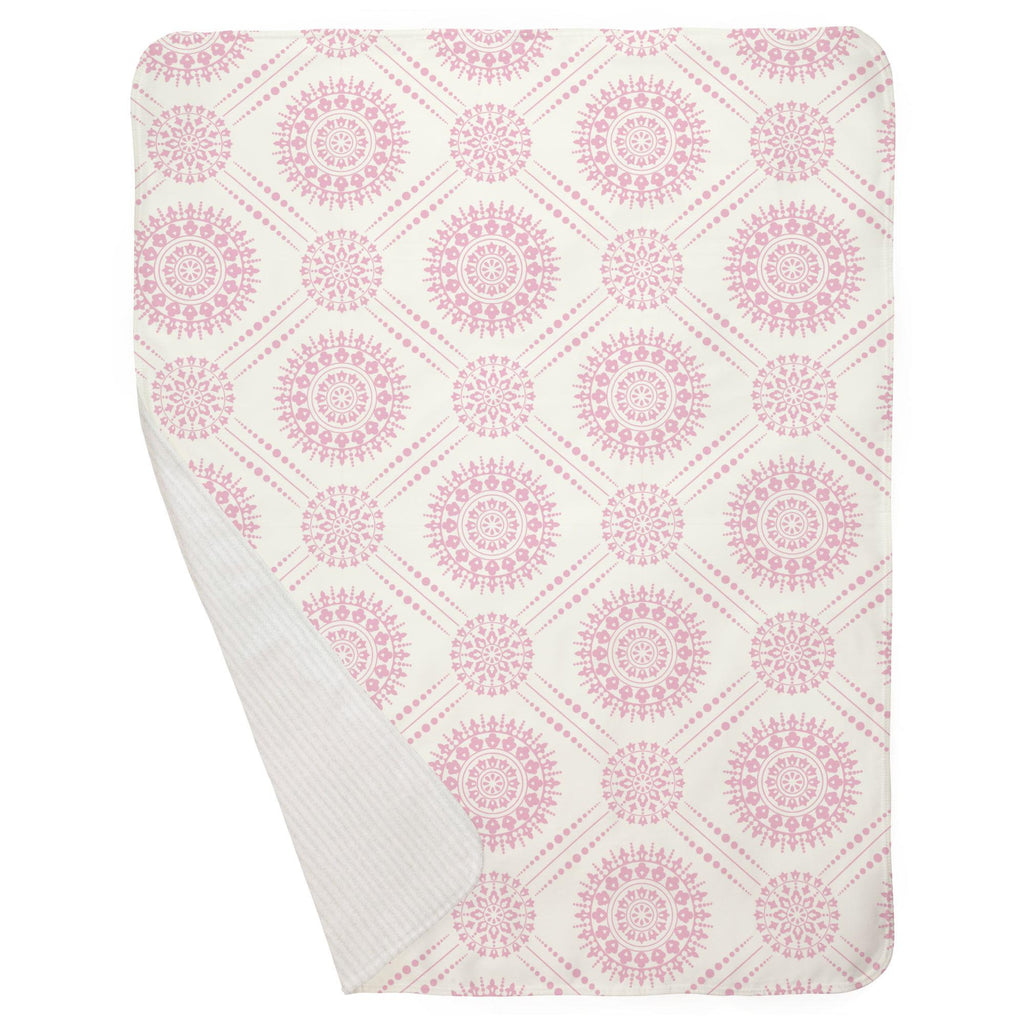 Product image for Bubblegum Pink Modern Medallion Baby Blanket