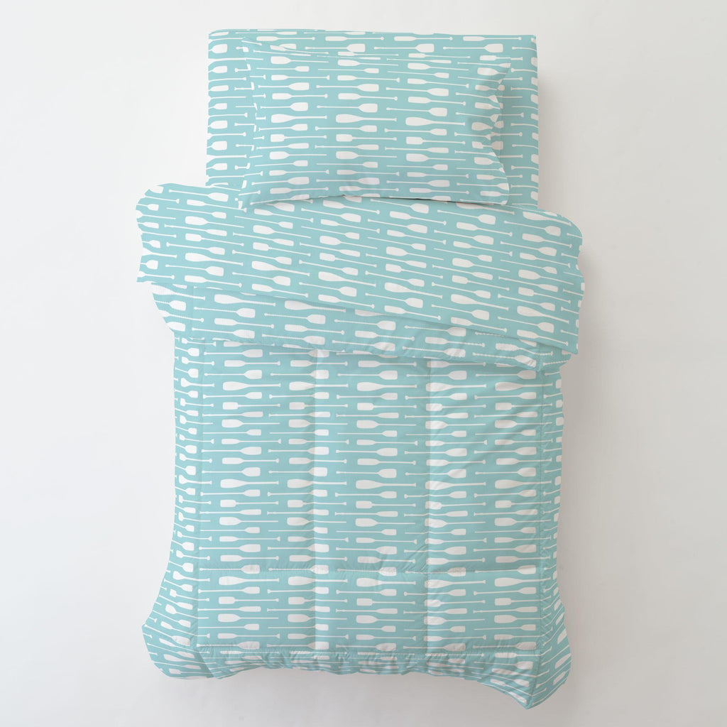 Product image for Seafoam Aqua and White Oars Toddler Sheet Bottom Fitted