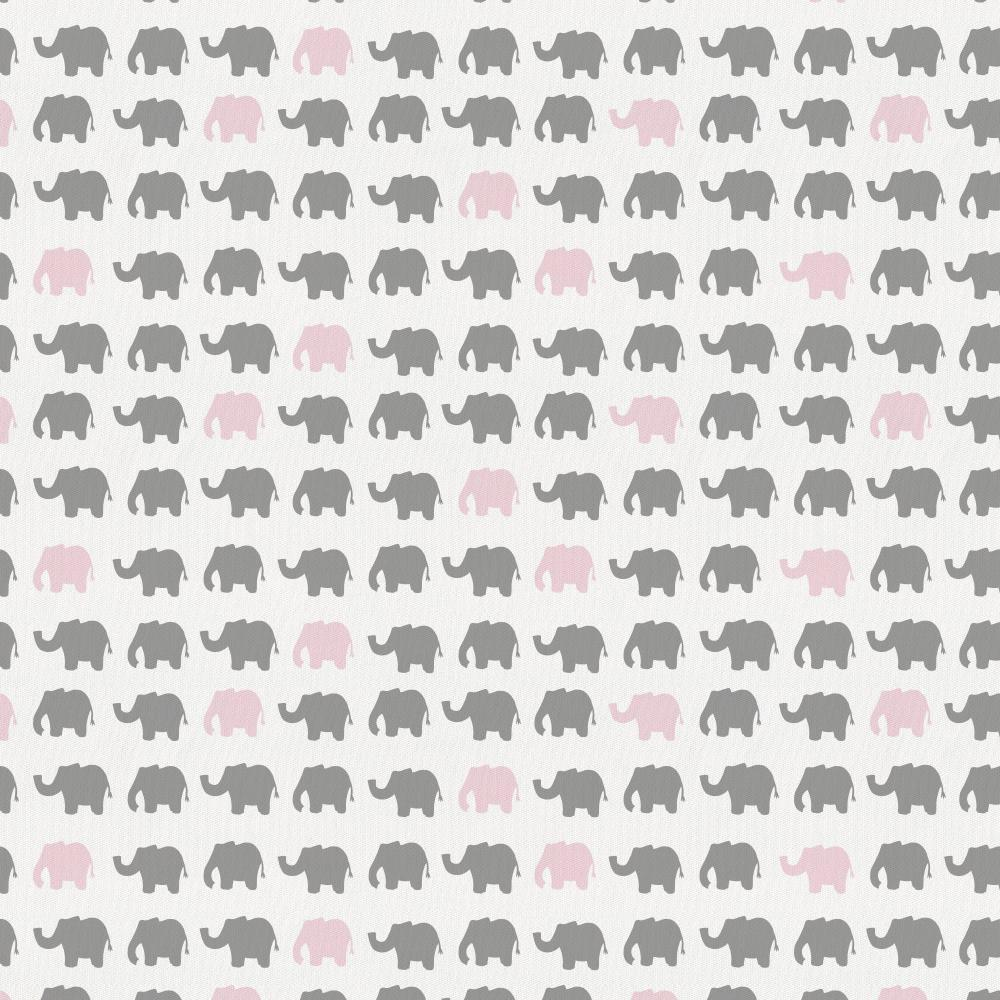 Product image for Gray and Pink Elephant Parade Crib Skirt Gathered