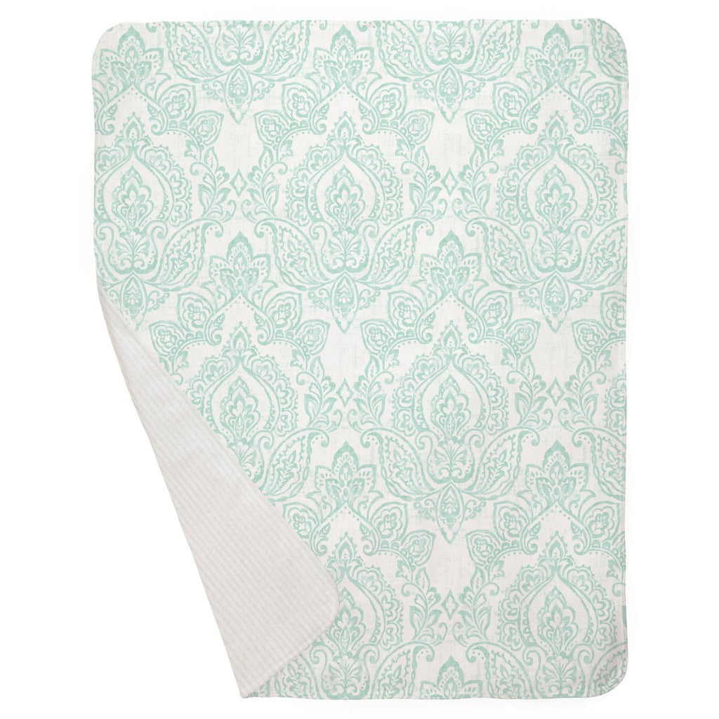 Product image for White and Icy Mint Vintage Damask Baby Blanket