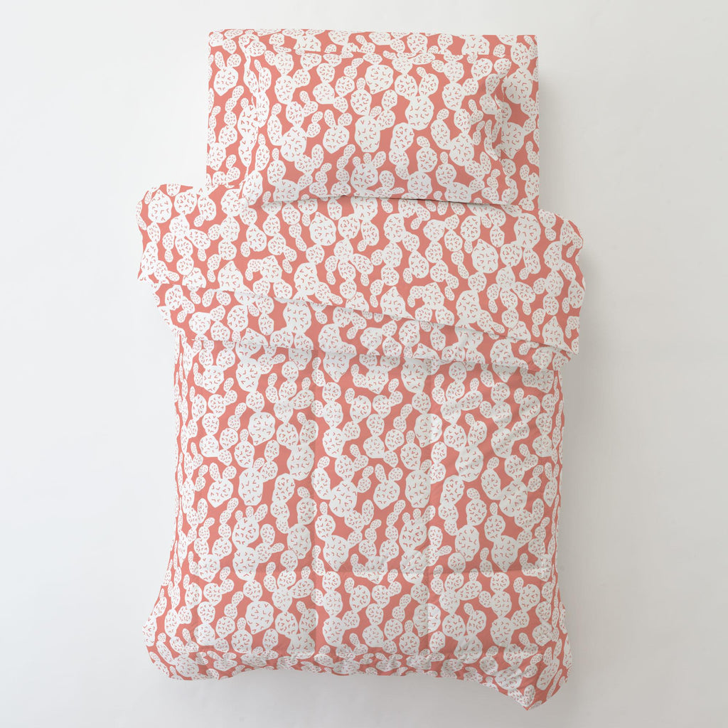 Product image for Light Coral Prickly Pear Toddler Sheet Bottom Fitted