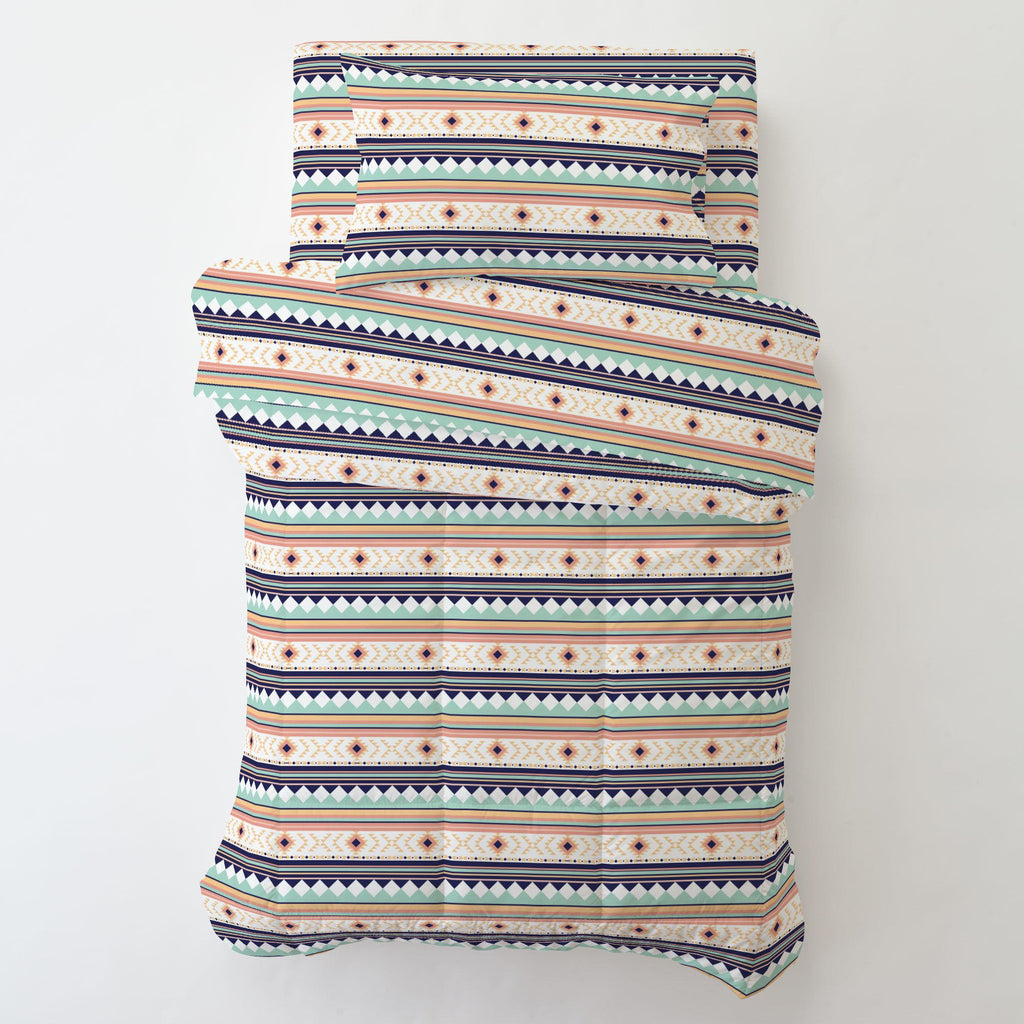 Product image for Navy and Mint Aztec Stripe Toddler Sheet Bottom Fitted