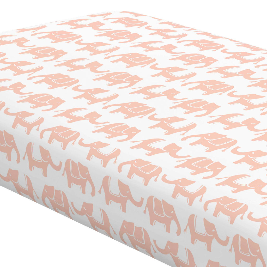 Product image for Peach Marching Elephants Crib Sheet