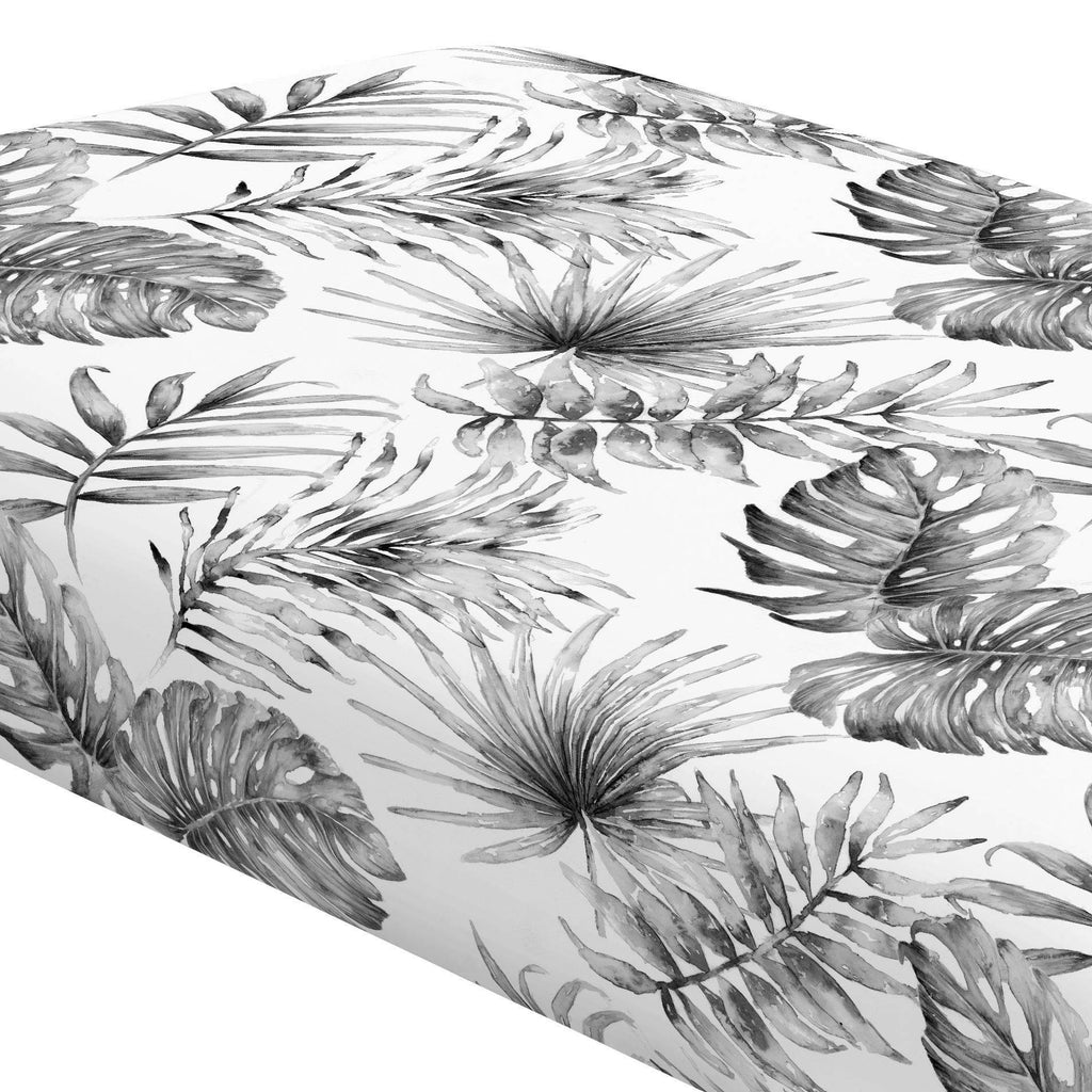 Product image for Gray Painted Tropical Crib Sheet