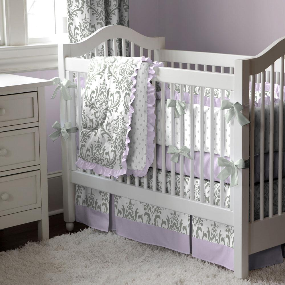 Product image for Gray Traditions Damask Crib Comforter with Ruffle
