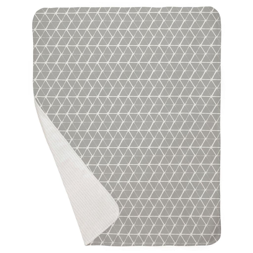 Product image for Gray Aztec Triangles Baby Blanket