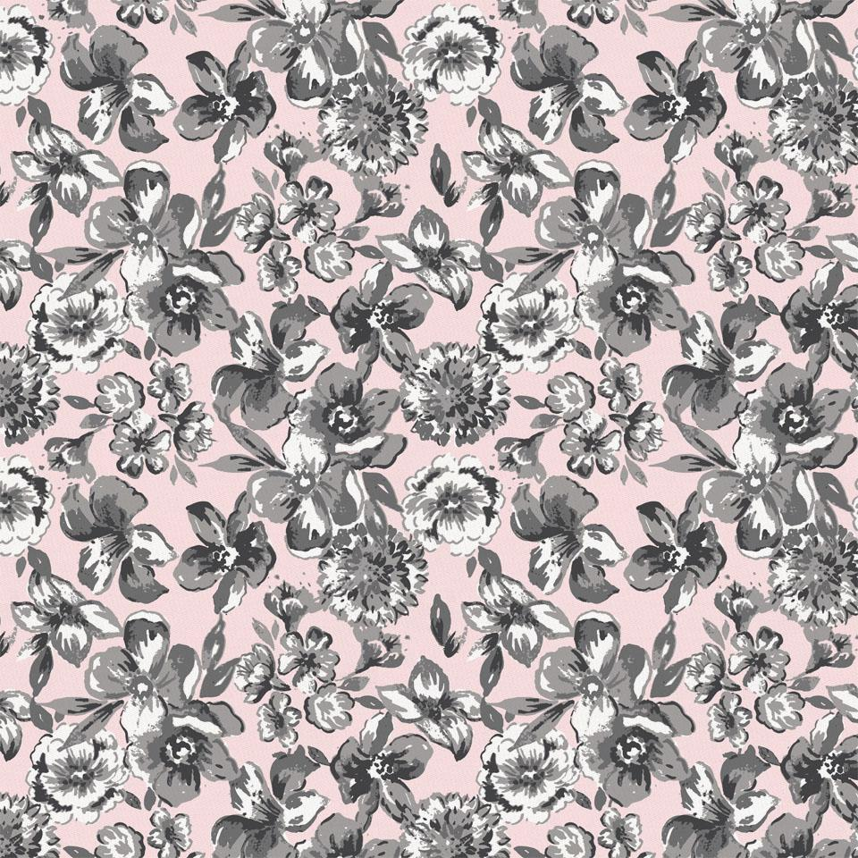 Product image for Pink and Gray Floral Fabric
