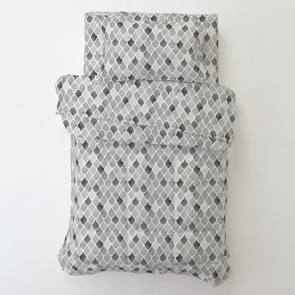 Product image for Gray Watercolor Scales Toddler Sheet Bottom Fitted