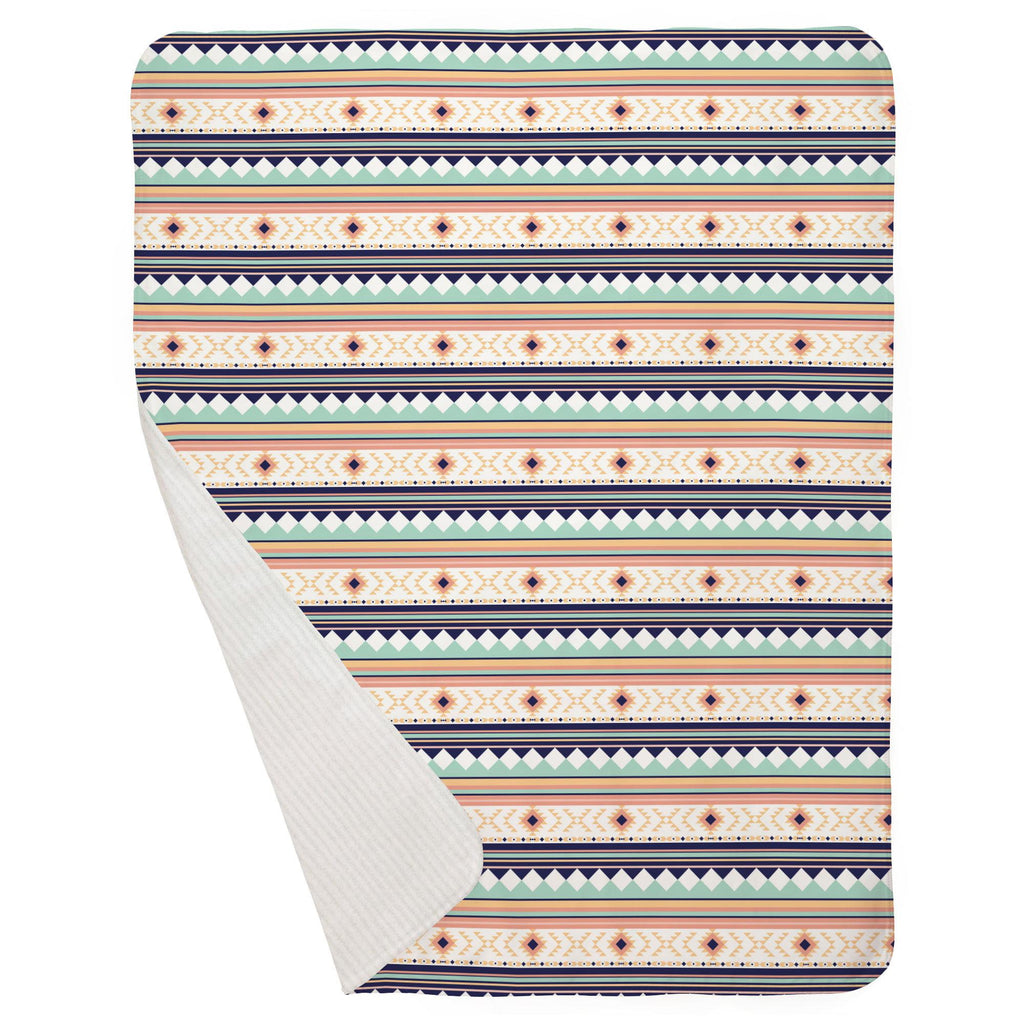 Product image for Navy and Mint Aztec Stripe Baby Blanket