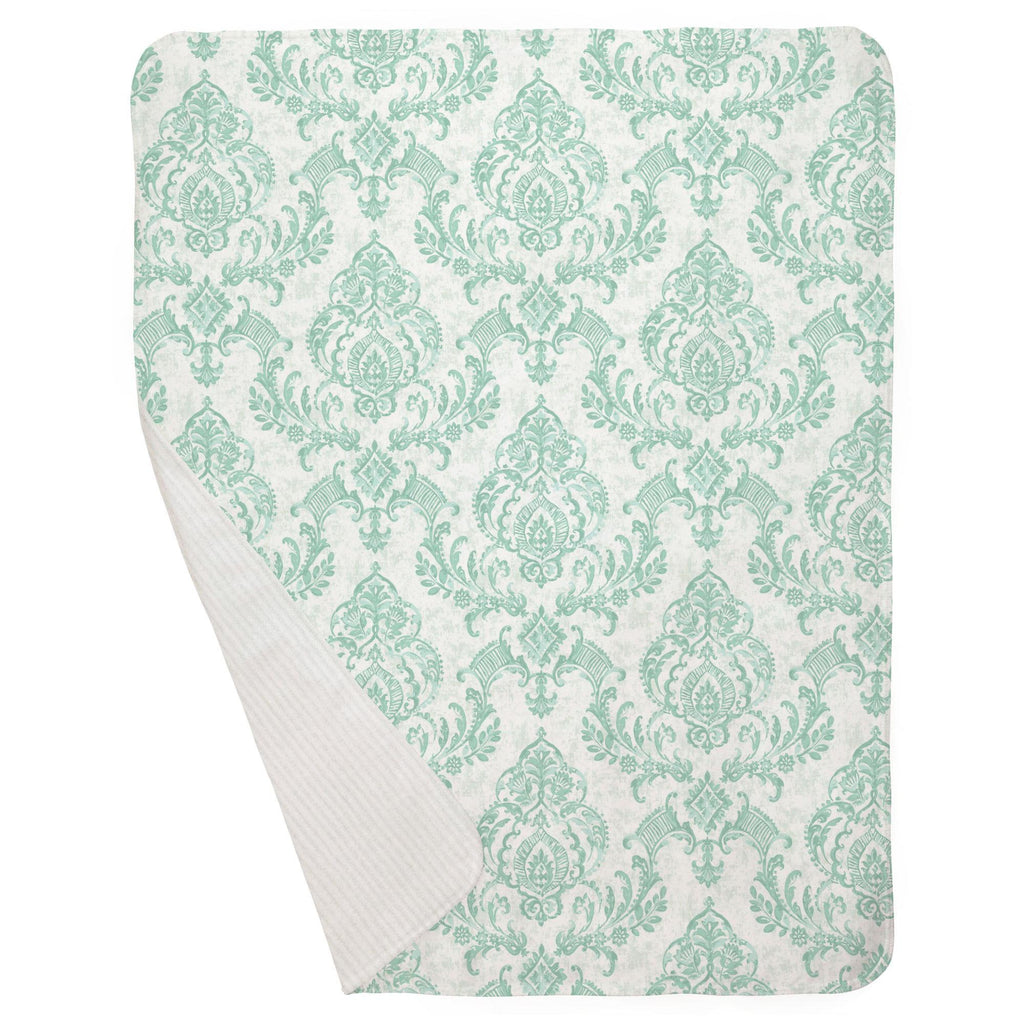 Product image for Mint Painted Damask Baby Blanket