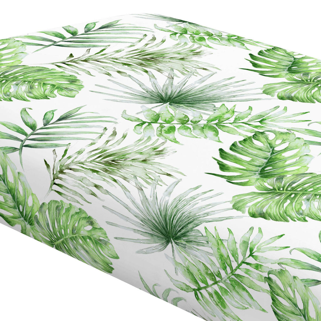 Product image for Green Painted Tropical Crib Sheet