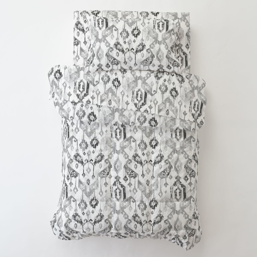Product image for Gray Tribal Ikat Toddler Sheet Bottom Fitted