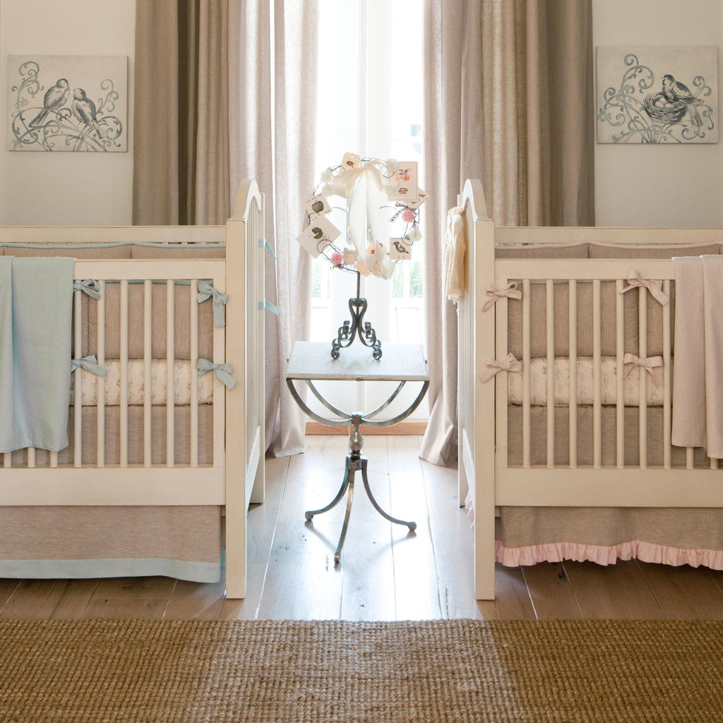 Product image for Light Blue and Flax Linen Crib Bumper