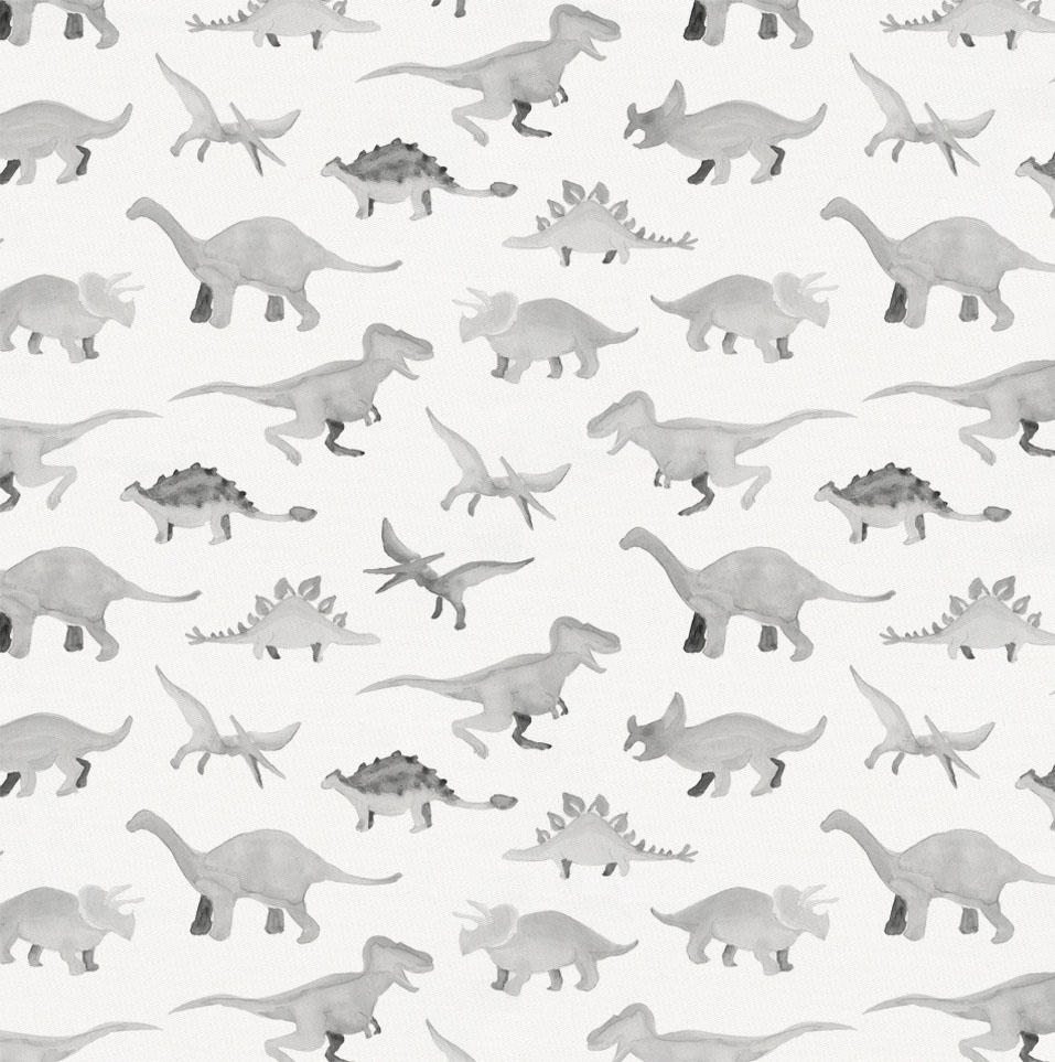 Product image for Gray Watercolor Dinosaurs Fabric