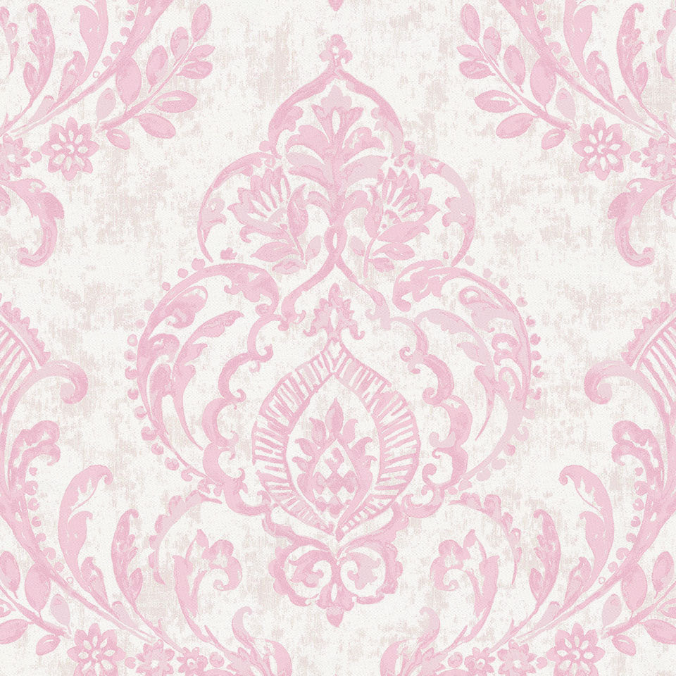 Product image for Pink Painted Damask Crib Skirt Gathered