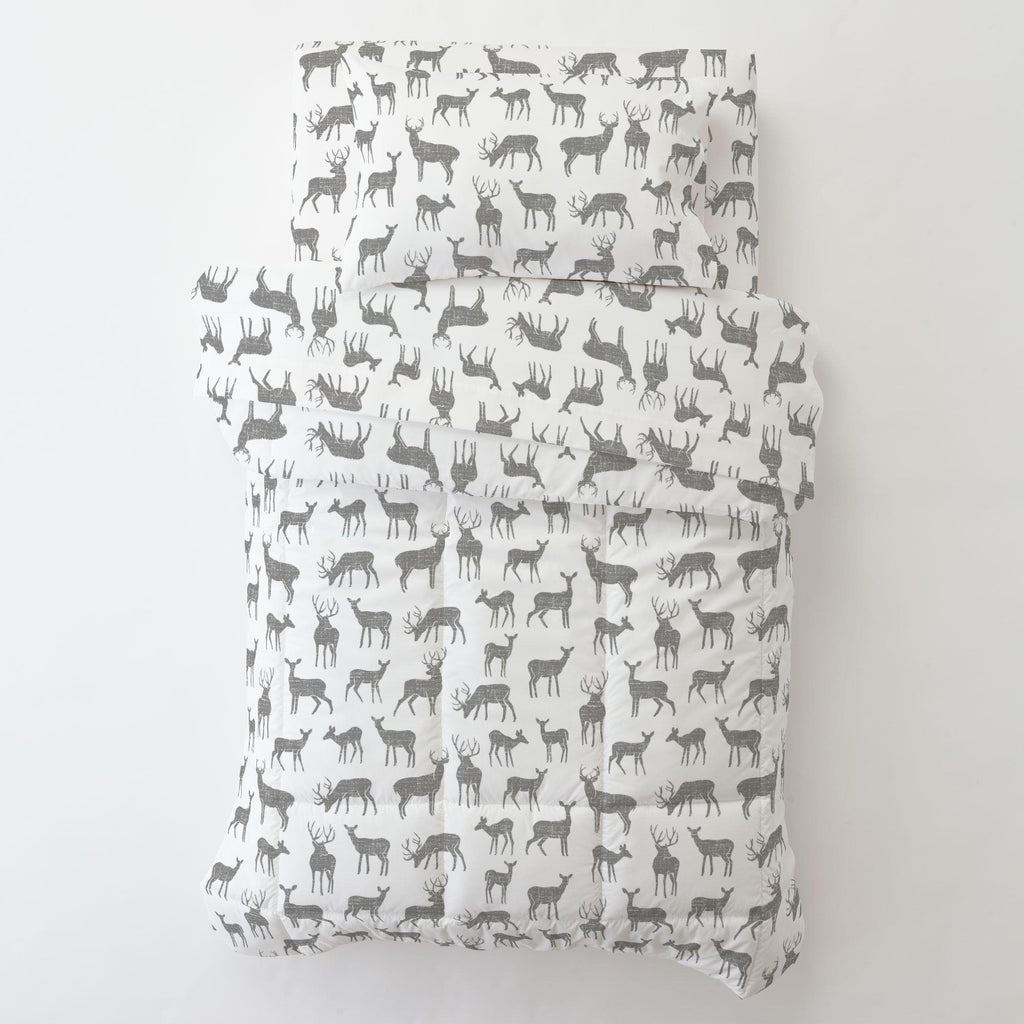 Product image for Cloud Gray Deer Toddler Sheet Bottom Fitted