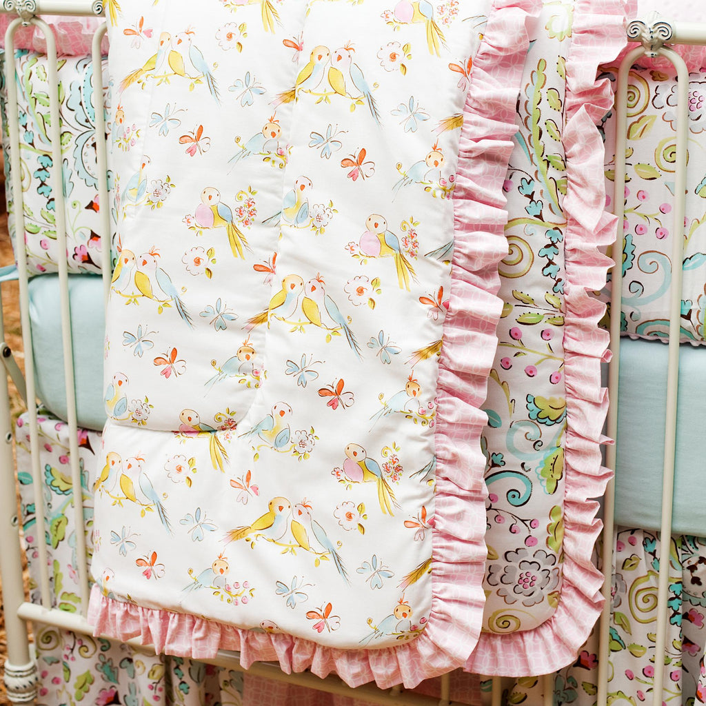 Product image for Love Bird Damask Crib Comforter with Ruffle