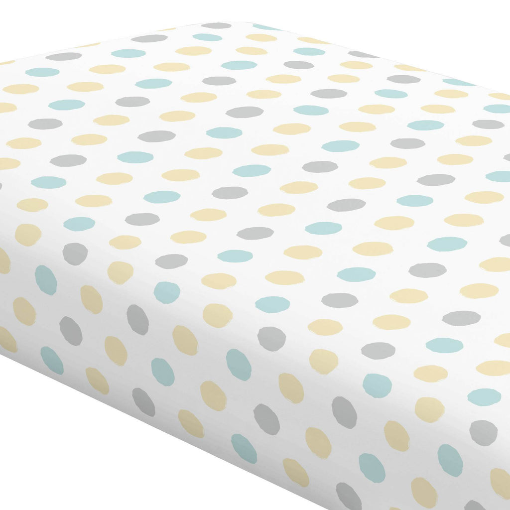 Product image for Mist and Gray Brush Dots Crib Sheet