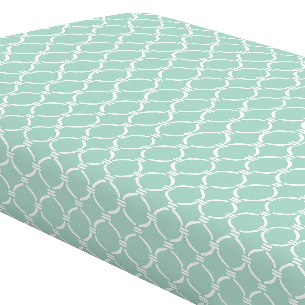 Product image for Mint and White Lattice Circles Crib Sheet