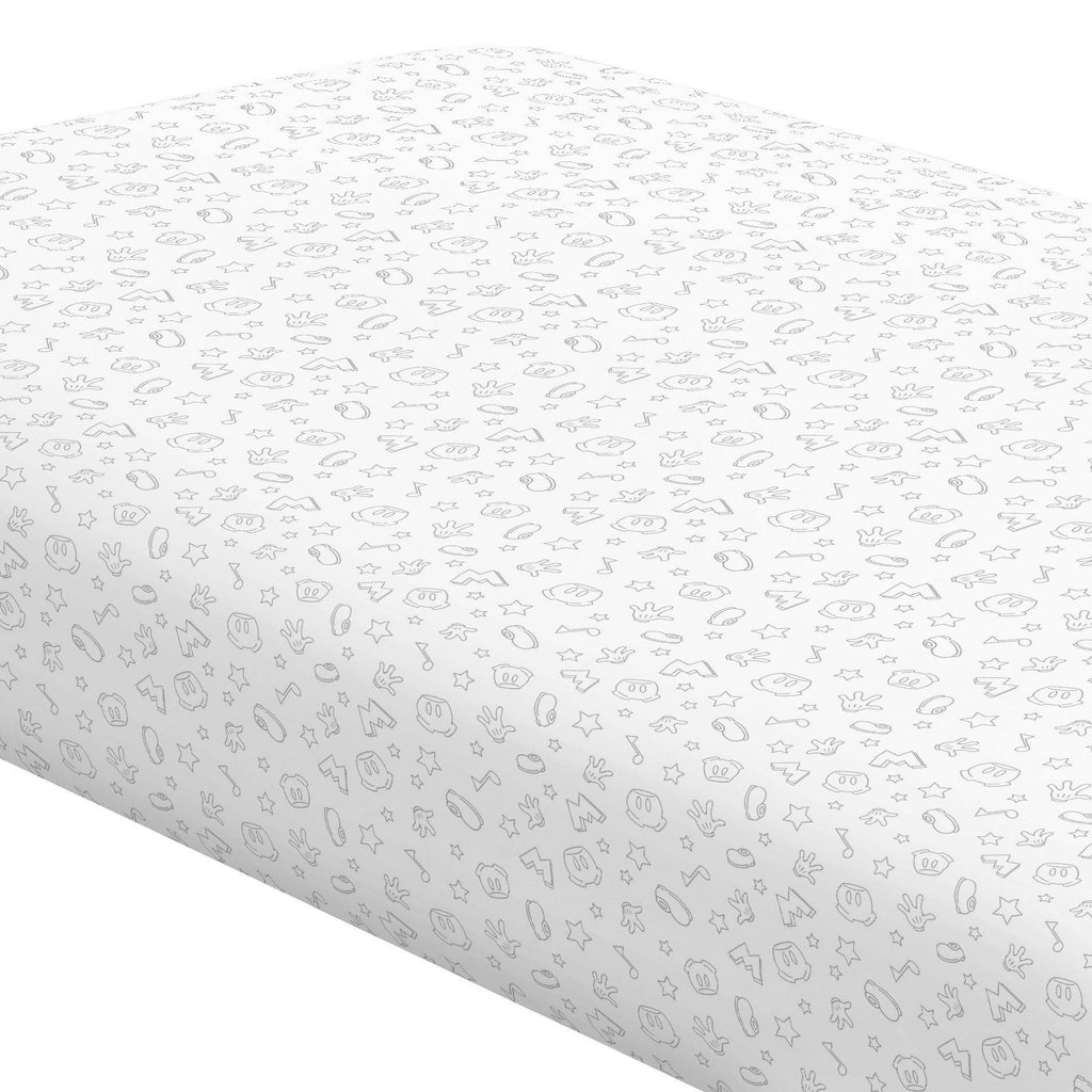 Product image for Disney© Gray Mickey Icons Crib Sheet
