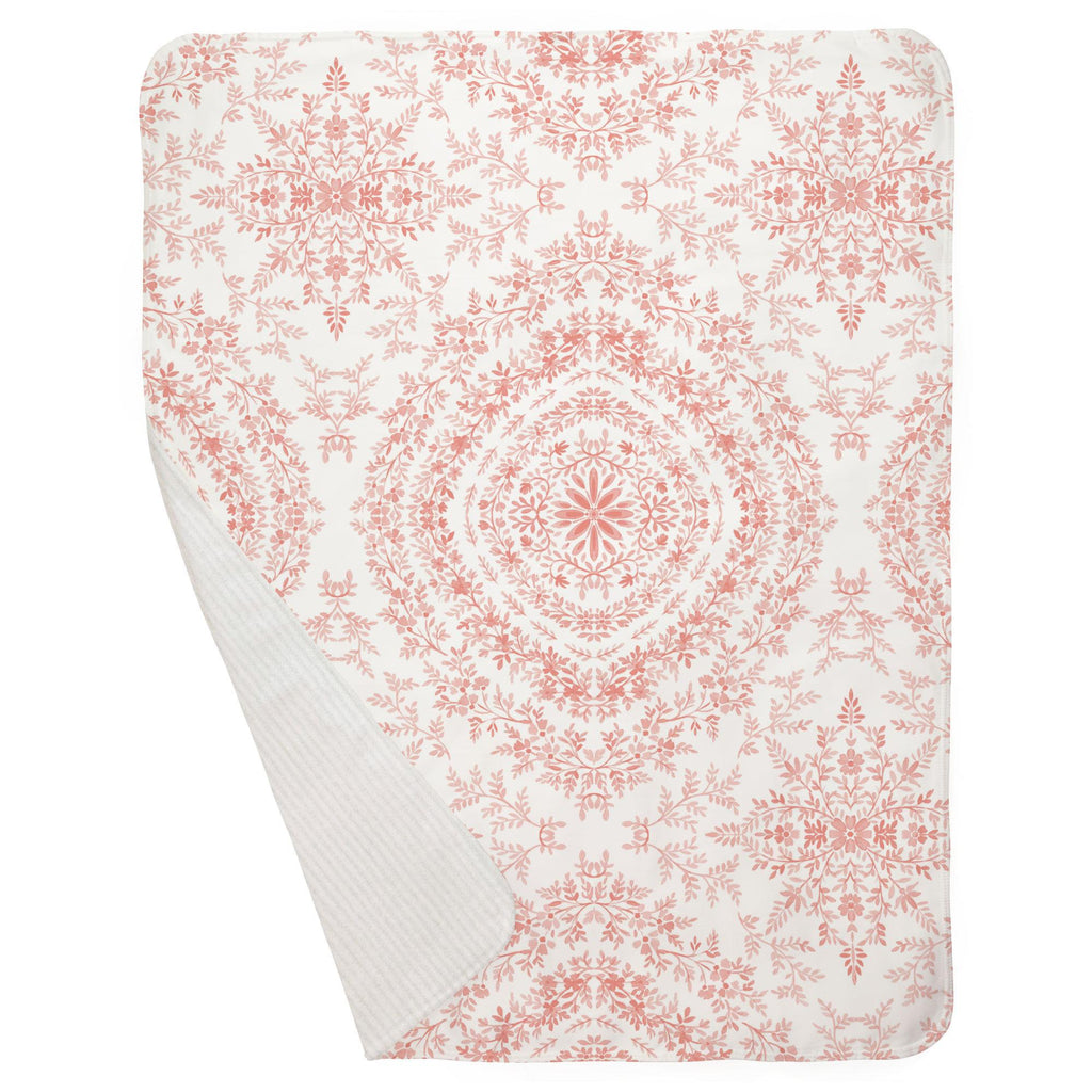 Product image for Light Coral Floral Damask Baby Blanket