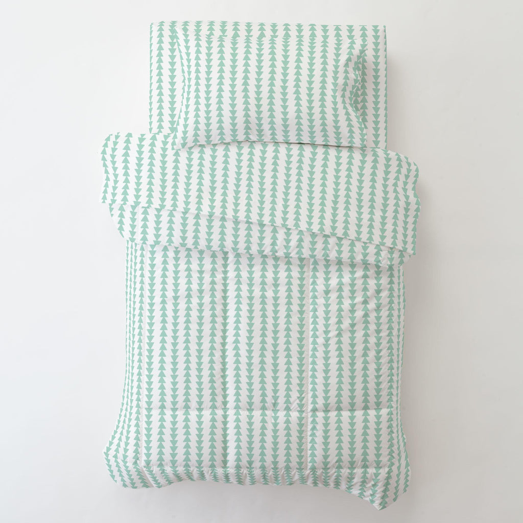 Product image for Mint Arrow Stripe Toddler Sheet Bottom Fitted