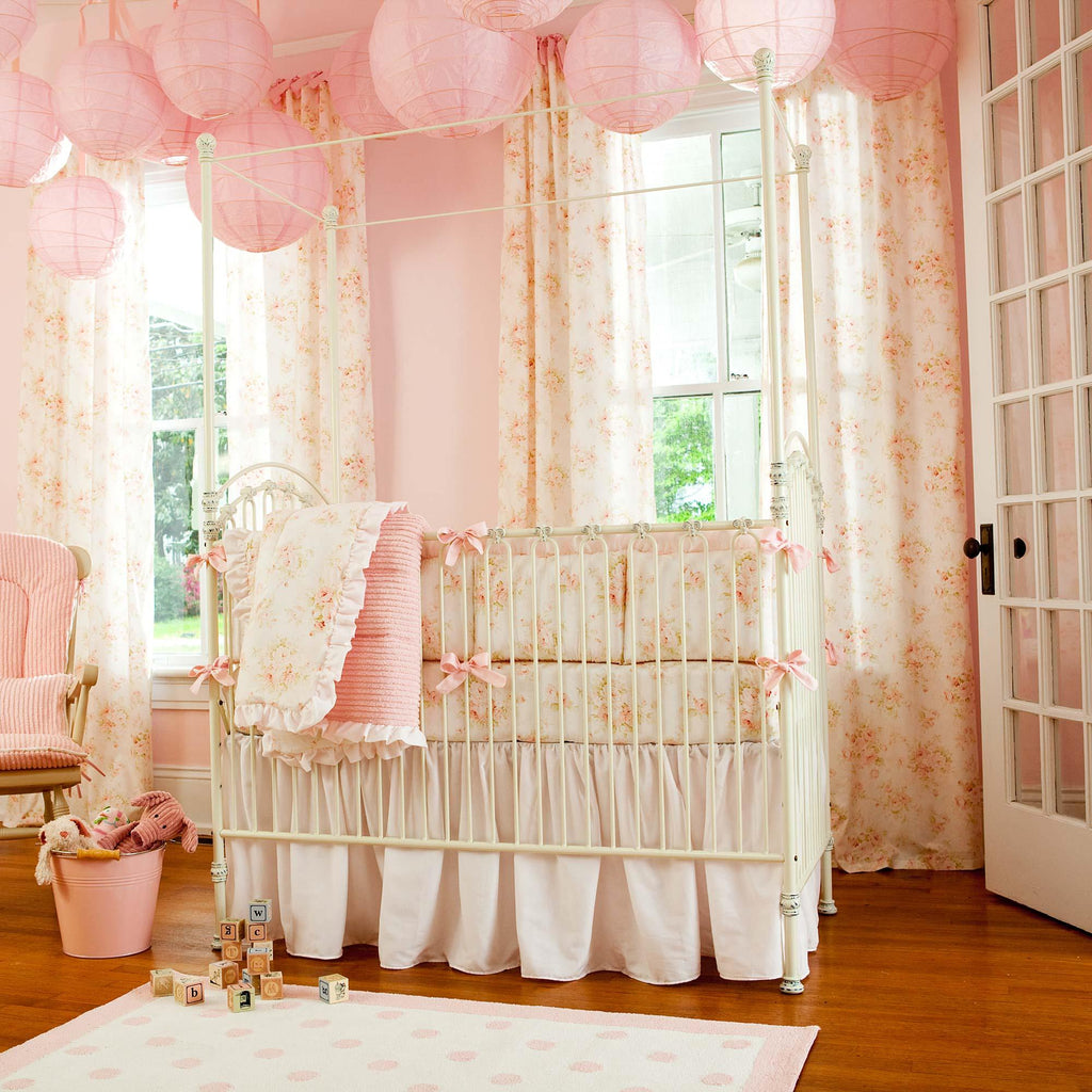 Product image for Baby Pink Chenille Crib Comforter with Ruffle