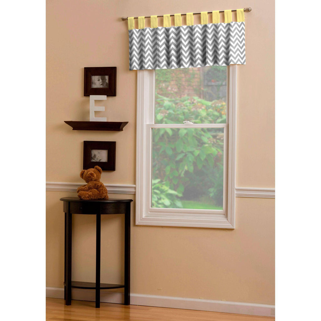 Product image for Yellow and Gray Zig Zag Window Valance Tab-Top