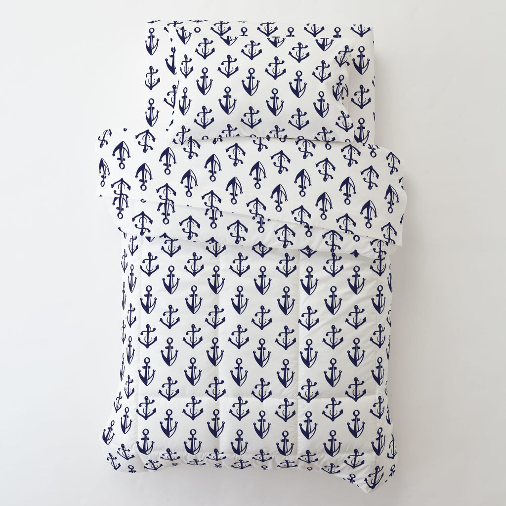 Product image for Windsor Navy Anchors Toddler Sheet Bottom Fitted