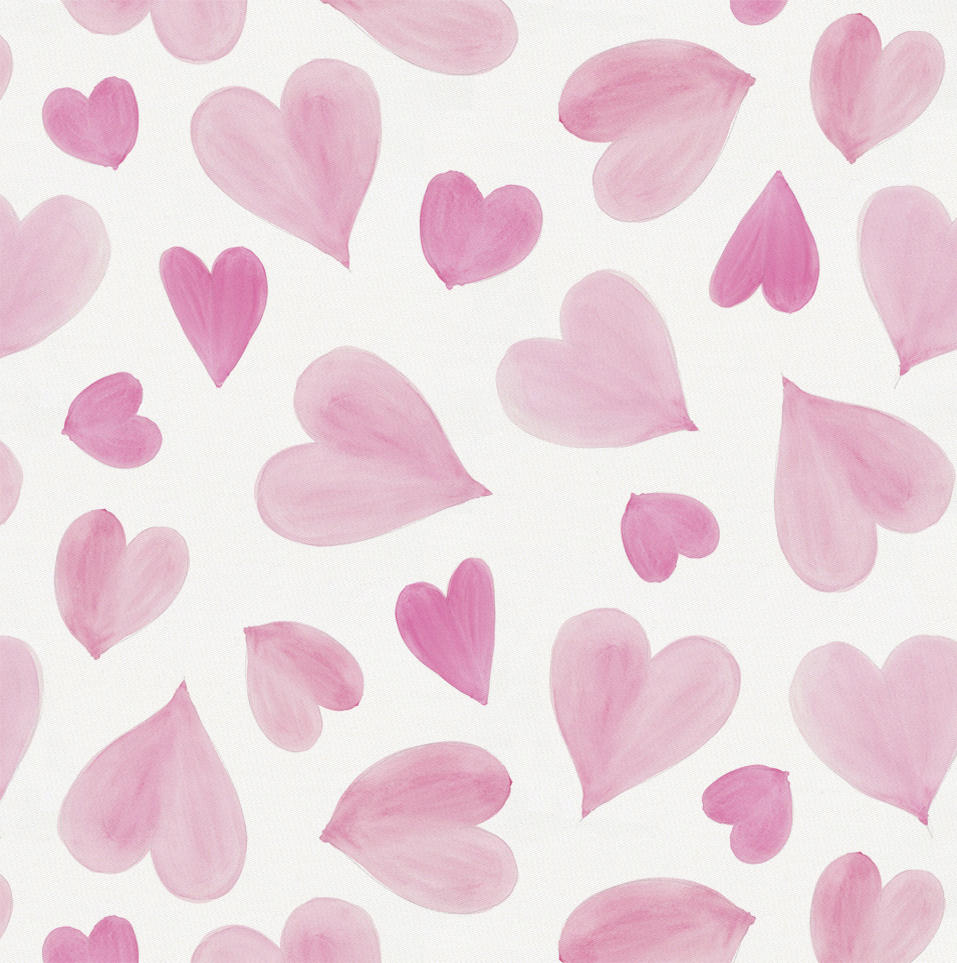 Product image for Pink Watercolor Hearts Fabric