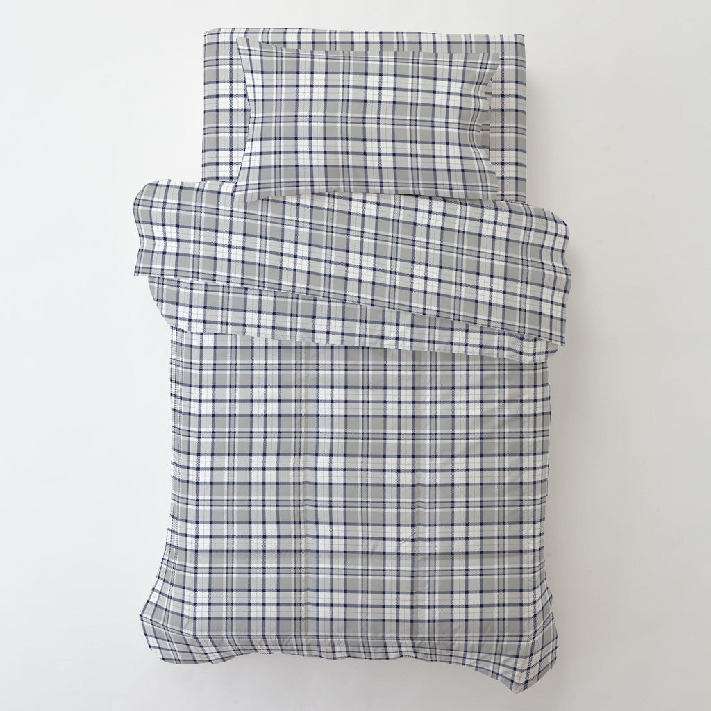 Product image for Navy and Gray Plaid Toddler Sheet Bottom Fitted