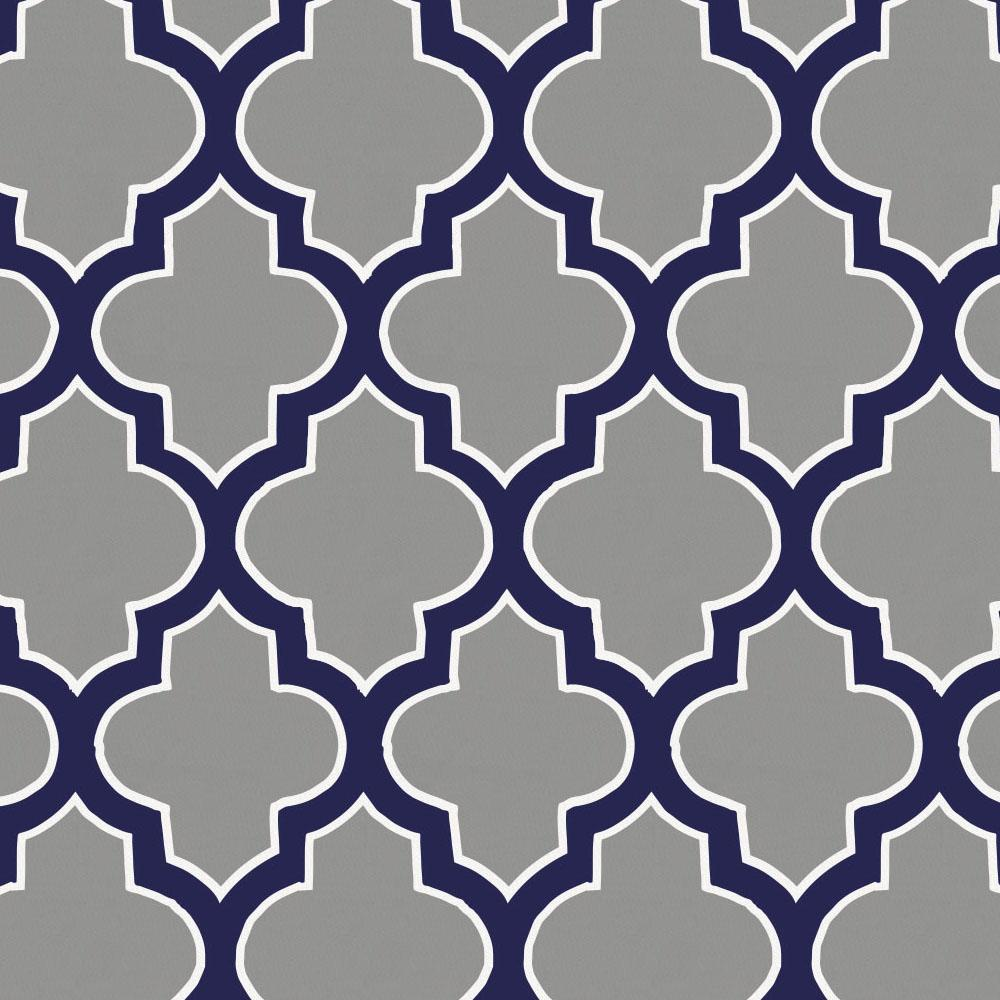 Product image for Cloud and Navy Hand Drawn Quatrefoil Crib Skirt Gathered