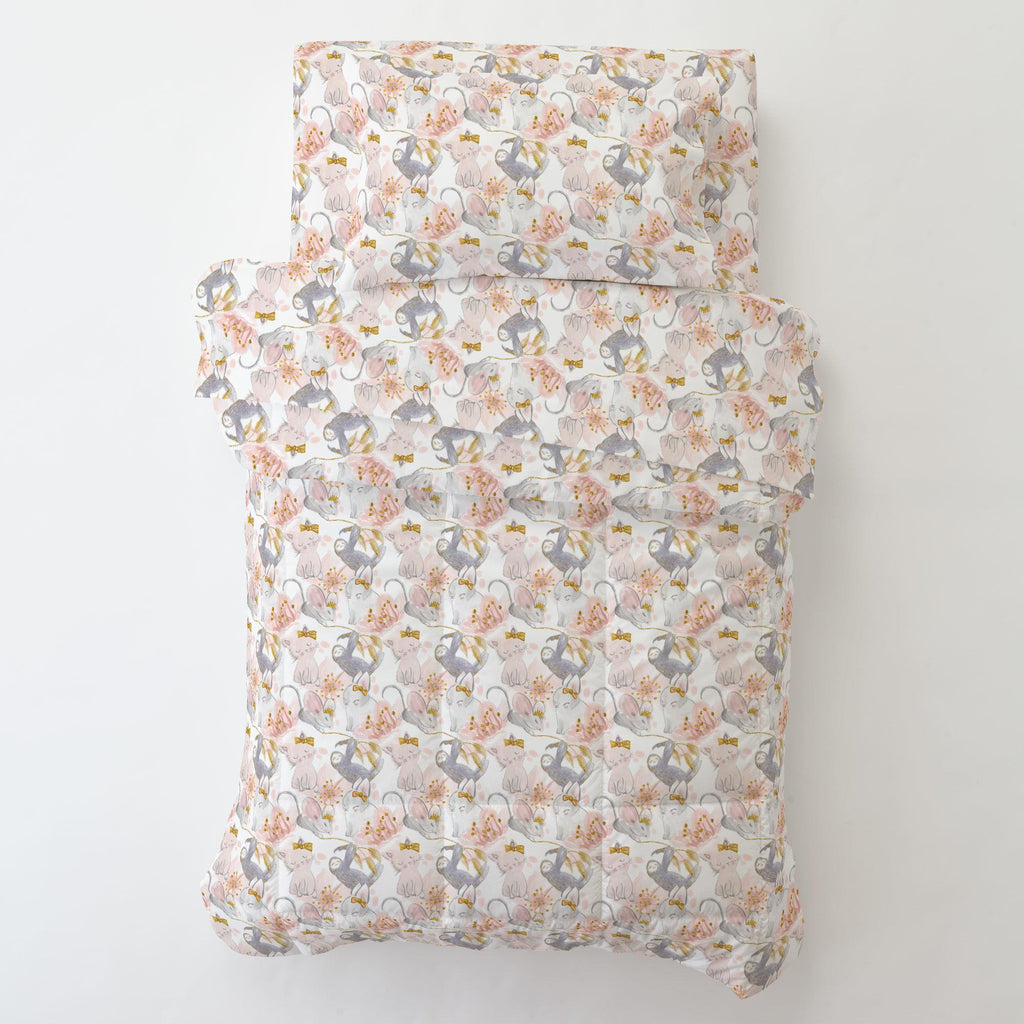 Product image for Pink and Gray Sloth Toddler Pillow Case