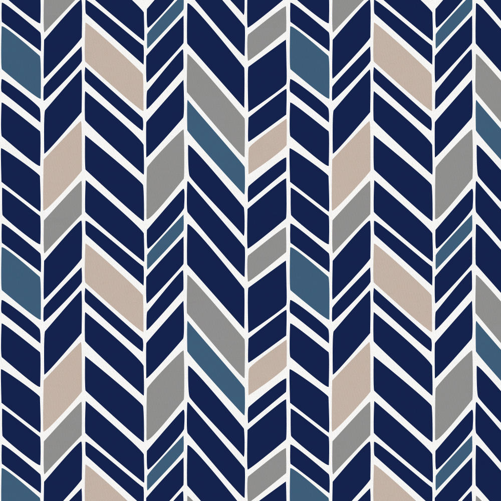 Product image for Solid Navy and Taupe and Windsor Navy Herringbone Drape Panel