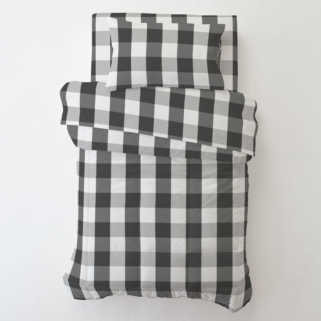 Product image for Onyx and Cloud Gray Buffalo Check Toddler Pillow Case