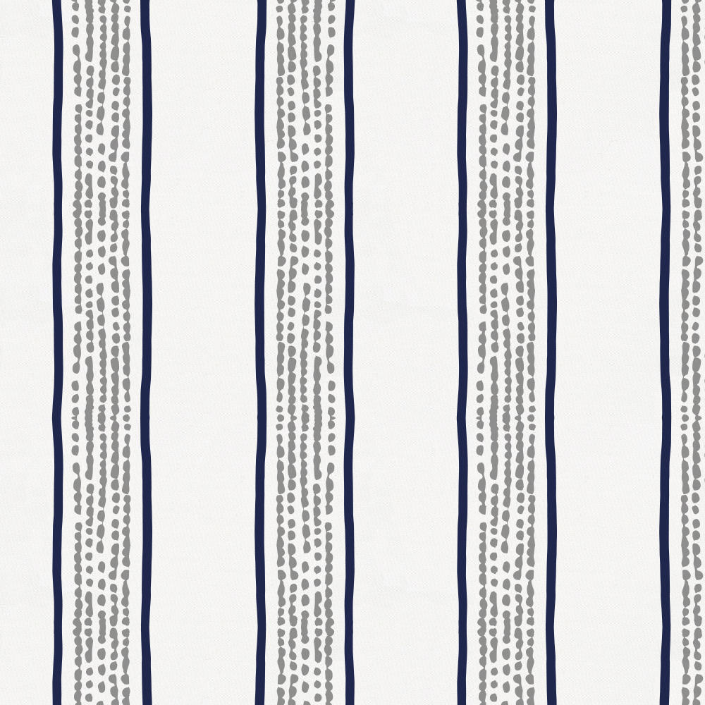 Product image for Navy and Gray Beach Stripe Crib Skirt Single-Pleat