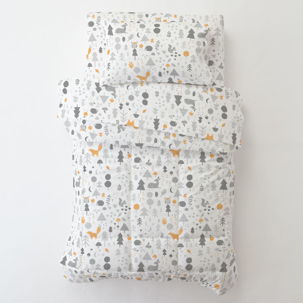 Product image for Light Orange and Silver Gray Baby Woodland Toddler Pillow Case