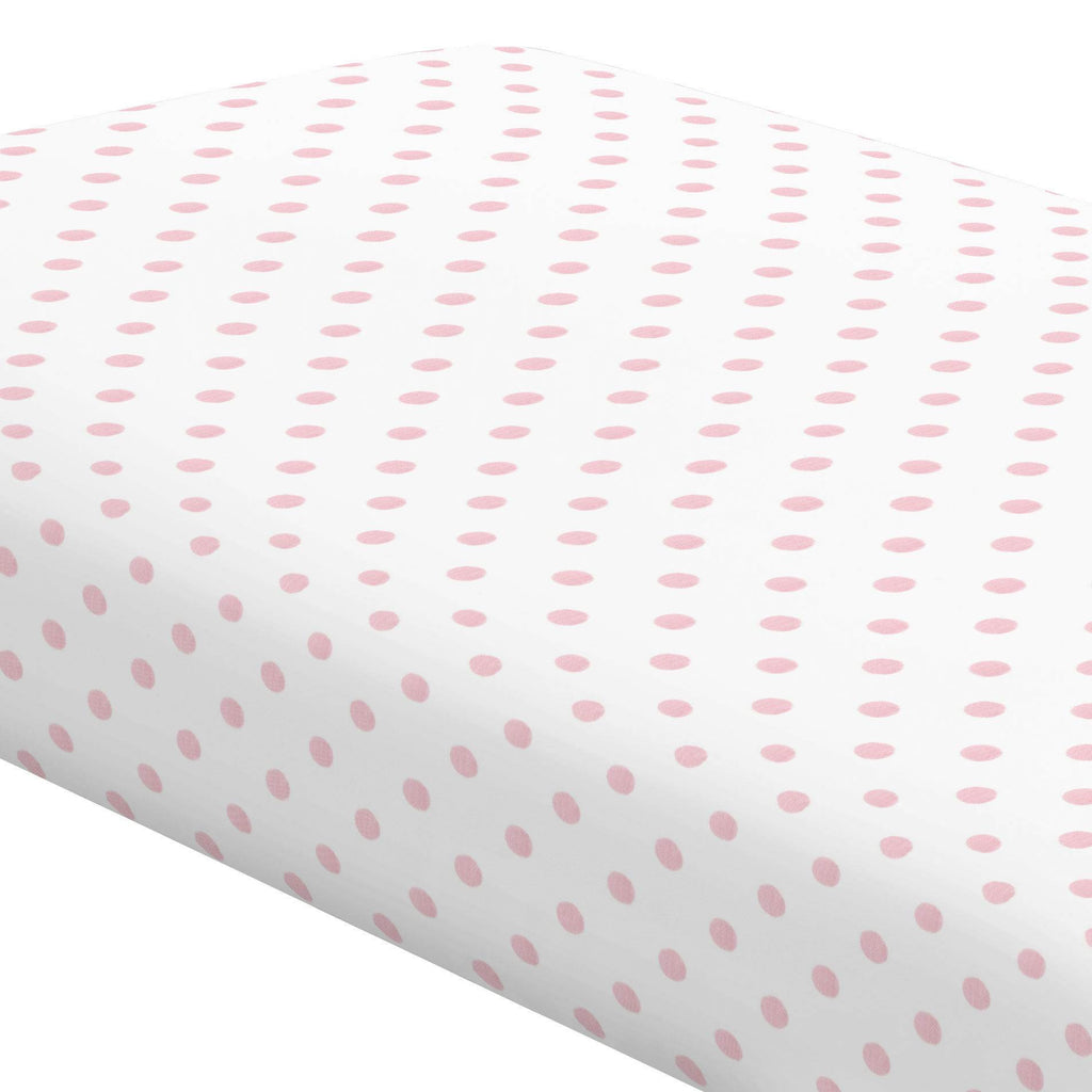 Product image for White and Pink Polka Dot Crib Sheet