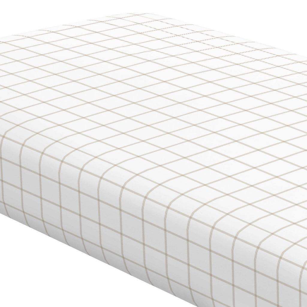 Product image for Taupe Windowpane Crib Sheet