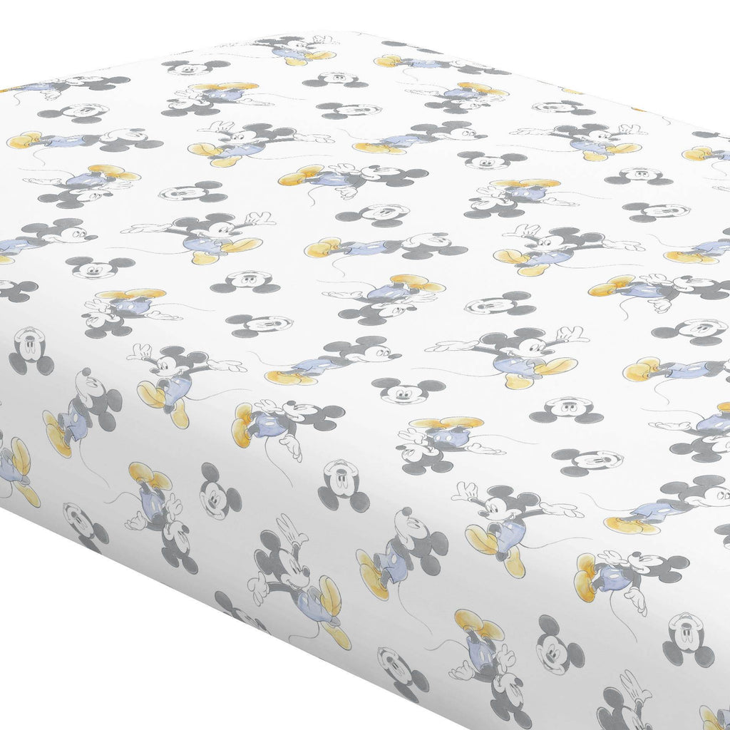Product image for Disney© Blue Watercolor Mickey Mouse Crib Sheet