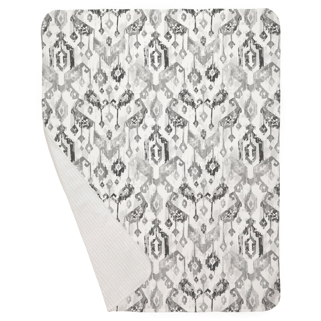 Product image for Gray Tribal Ikat Baby Blanket