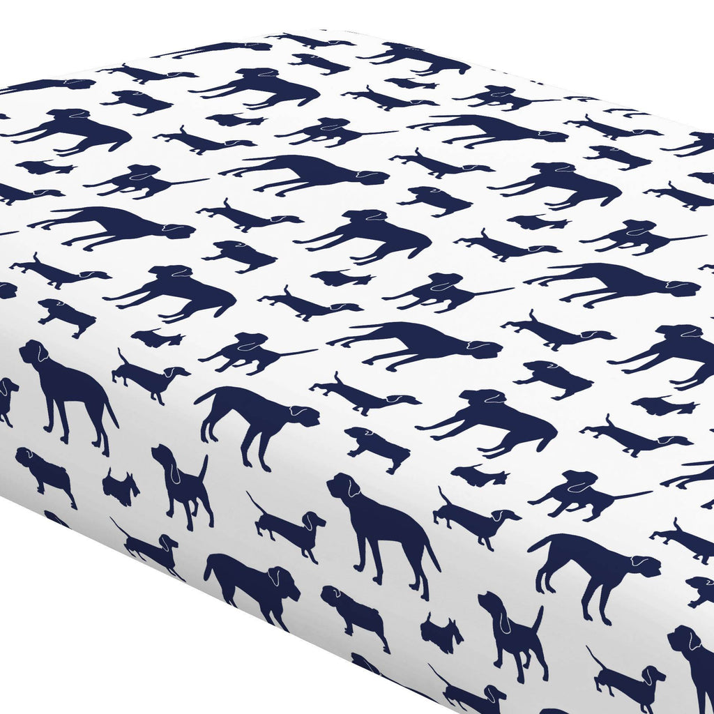 Product image for Navy Dogs Crib Sheet