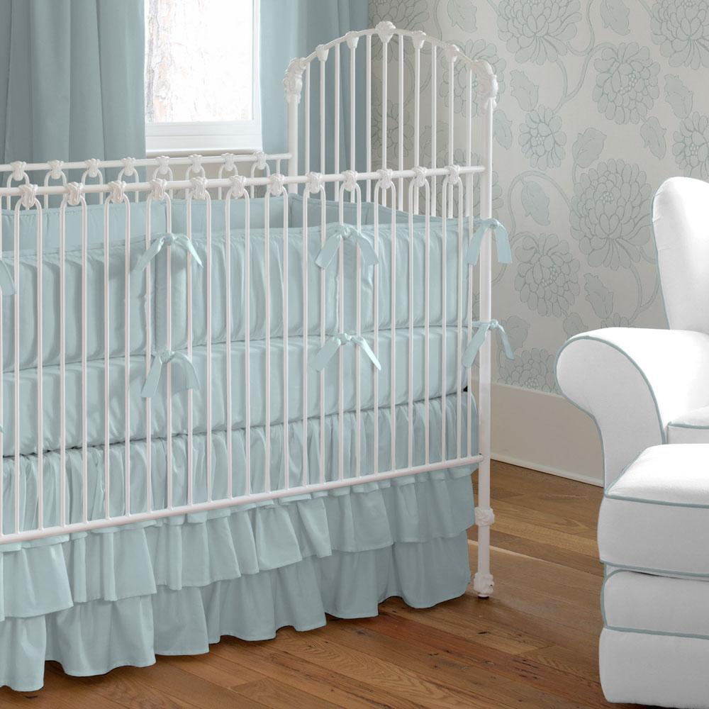 Product image for Solid Robin's Egg Blue Crib Comforter with Piping
