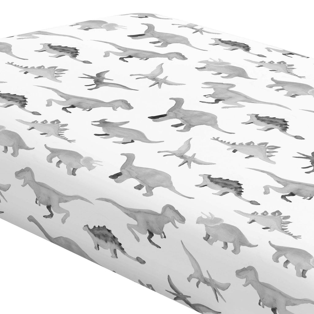 Product image for Gray Watercolor Dinosaurs Crib Sheet